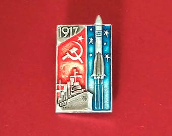 Aurora ship, October Revolution 1917 Pin. Vintage collectible badge, Communism, Russia, Soviet Union, Made in USSR, 1970s