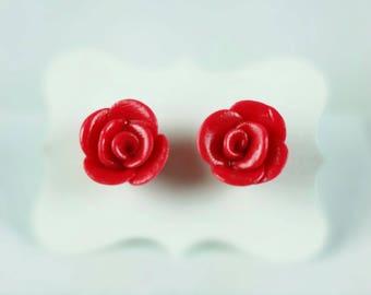 Flower Clay Earrings,Red Rose Earrings,Red Flower earrings,Jewelry,Flower Girl Gift,Red Rose