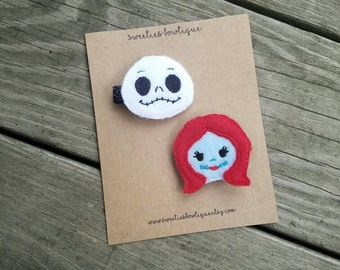 Nightmare before Christmas Jack and Sally hair clippies, NBC hair clip, Jack hair clip, Sally hair clip