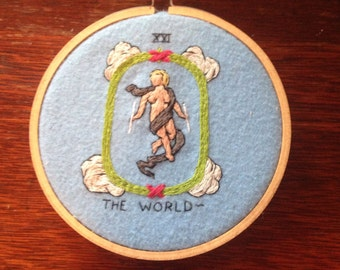 The world tarot inspired embroidery in hoop