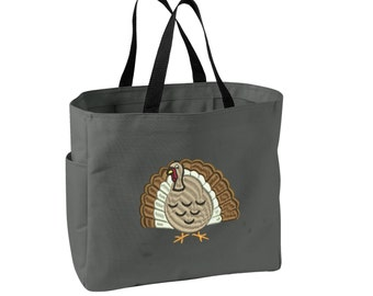 Thanksgiving Turkey Tote Bag. Embroidered  Holiday Turkey  Tote. Cute Thanksgiving Tote Bag. SM-B0750
