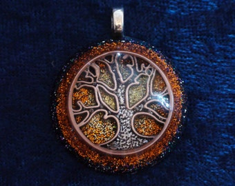 Orange Tree of Life Svadhisthana Chakra-Tuning Blue Orgone 30mm Pendant 72 energy harmonizing crystals Quartz black cord / silver chain