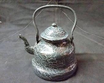 Vintage Graniteware Teapot With Lid