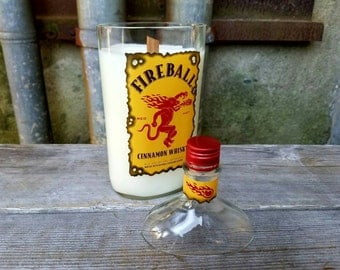 Fireball Cinnamon Scented Candle, Soy Wax Candle, Man Cave Bar Decor, Mens Gift, Dad, Brother, Liquor Bottle,  Recycled Glass Bottle