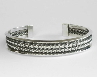Vintage Sterling Silver Double Cable Cuff Bracelet