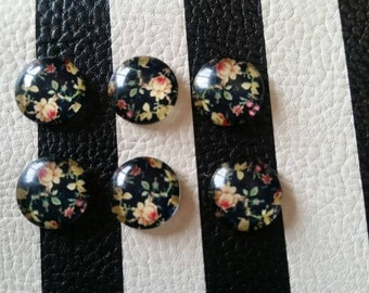 12mm Black Floral Glass Cabochons