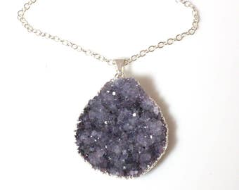 Large Purple Amethyst Druzy Pendant Sterling Silver Necklace on a Long Chain