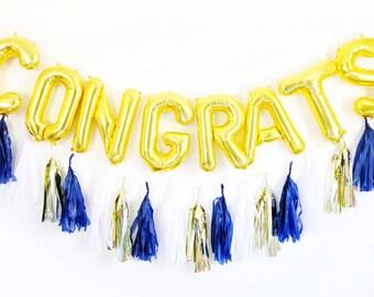 CONGRATS balloons - tassel garland letter balloon set