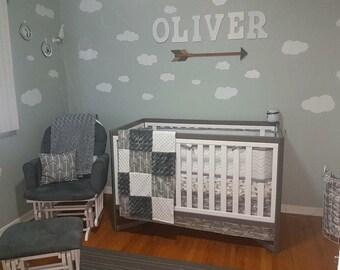 Nursery Crib Bedding, Bed Set, Grey Arrow baby bedding