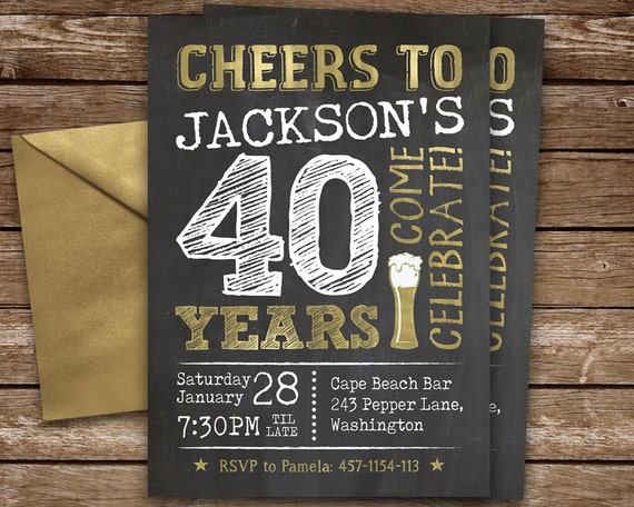 40th birthday invitation for man cheers to 40 years invite il570xn filmwisefo