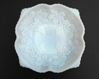 """Anchor Hocking Grape Milk Glass 10"""" Square Pedestal Bowl"""