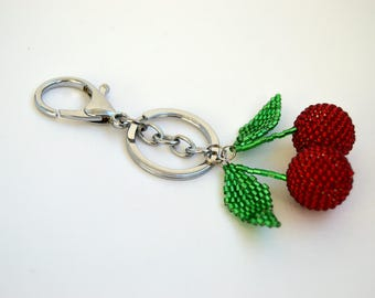 summer outdoors pom pom keychain Bag Charm Womens gift Car accessories Handmade keychain Beaded key chains for women gift for her