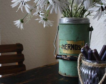 Vintage Green Thermos Flask