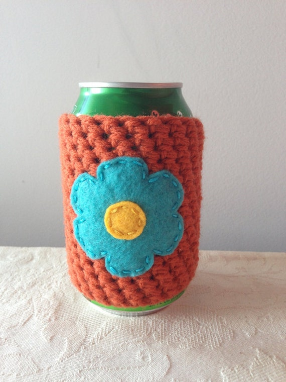 Crochet Beer Cozy in Pumpkin, Coffee Cup Cozy, Reusable Coffee Cozy ...