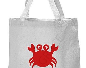 Beach Tote Bag, Crab Tote Bag, Beach Bag, Beach Accessories, Beach Gift Ideas, Canvas Beach Bag, Crab Beach Bag