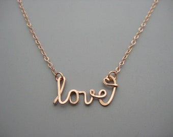 Love Necklace with Dainty Heart - rose gold choker with cursive wire writing and delicate chain, simple everyday jewelry
