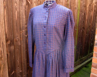 Laura Ashley Dress, Tartan Dress, Vintage Laura Ashley, Vintage Dress, Plaid Dress, UK Size 16, Day Dress, US Size 14, Blue Dress, Checked