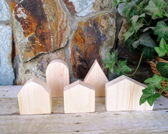 Wooden house set of 5 - Wooden village - Unfinished wooden houses - Rustic wooden houses - DIY - Paint your own home decor - Easter gift