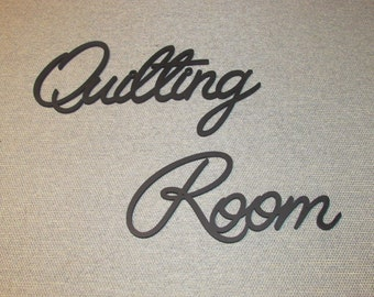 Quilting Room Wood Wall Words Art Decor Sew