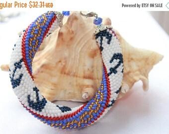 SALE 25% Anchor Bracelet Anchor jewelry Gift for wife Boho Bohemian Bracelet Beach jewelry Beach Bracelet Striped Sea bracelet nau