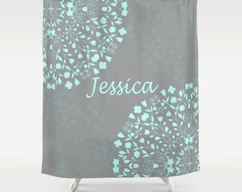 mint green shower curtain. Shower Curtain  Mint Floral Garden 71 by 74 Home Bathroom shower curtain Etsy