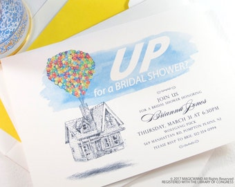 UP Bridal Shower Invitations, Fairytale Wedding, Disney bridal shower, Hand Drawn (set of 25 cards & envelopes)