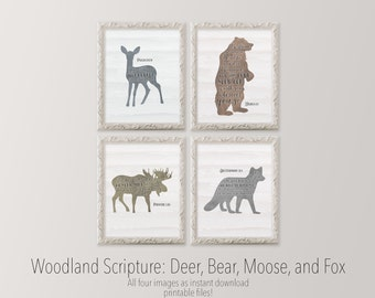 Scripture printable set of four nursery art Deer Bear Moose Fox Gallery wall Woodland nursery scripture art Bible verse HEART OF LIFE Design