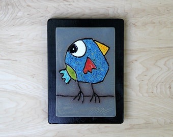 bird tile, ceramic bird tile, handmade bird tile, bird art, blue bird, bird