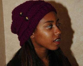 Purple Slouchy Crochet Hat