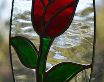 Single Red Rose Stained Glass Suncatcher