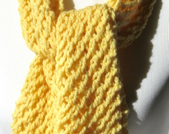 Pale Yellow Knit Scarf - Lightweight Scarves - Sunny Yellow - Soft Fluffy Scarf - Golden Yellow Scarf - Wool Knit Scarf - Gift Winter Scarf