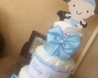 Baby boy diaper cake/Grey chevron and light blue diaper cake/Elegant boy bavy shower centerpiece