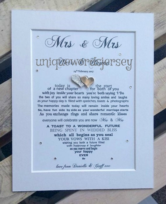Gift, Lesbian Couple, Mrs and Mrs, Bride and Bride gift, Wedding gift ...