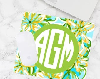 Monogram Mouse Pad, Computer Mouse Pad, Personalized Desk Mouse Pad, Teacher Gift
