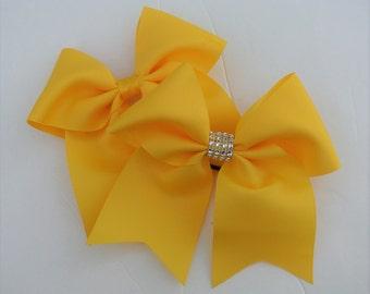 Yellow Hair Bows/Softball Bows/Yellow Softball Hair Bows/Yellow Cheer Bows/Yellow Soccer Bows/Yellow Volleyball Bows/7 inch solid color hair