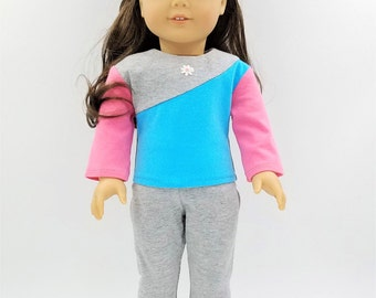 Knit Top and Leggings for Dolls Like American Girl, 18 Inch Doll Sweatsuit, Doll Sweatshirt and Sweatpants