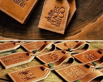 Leather Luggage Tag -- Oh The Places You'll Go -- HUGE SALE -- rustic luggage tag -- Portland Leather Goods