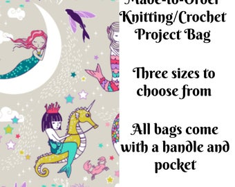 Knitting Project Bag, Mermaid Lullaby in Candy, Sock Knitting, Zippered Bag, Crochet Bag, Sweater Project Bag, Large Bag
