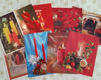 Vintage Holiday Christmas Cards Set of 9 Mid Century Assorted Greeting Cards Vintage 1970s Holiday Cards