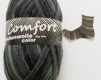 sock yarn 100g (6,- Euro/100g), grey with green, 4ply (117.05)