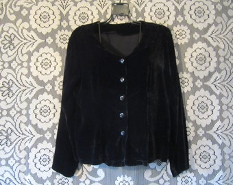 Black Vevlet Cardigan Jacket Button Up Shirt Minimalist Goth Punk Grunge Boho Hippie Festival Witch Witchy Strega Flowy Loose 90's