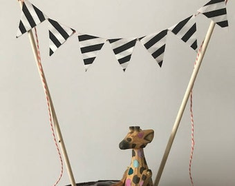 Birthday Cake Topper / Bunting / Fabric Pennant Flags / Baby Shower / Party /  Black and White Striped Flags on Orange Cord
