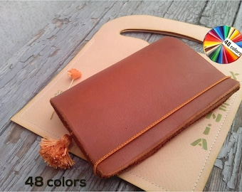 Minimalist wallet women genuine leather credit card sleeve holder slim thin wallet executive gifts brown leather cowhide CHOICE of 48 colors
