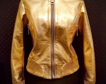 Golden Glory - Women's leather jacket (Free shipping)