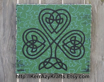 Clover Knot Sign, Celtic Clover Sign, Shamrock Knot Sign, Free USA Shipping!