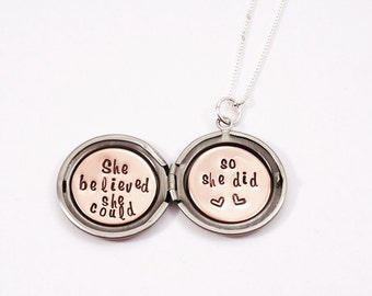 She believed she could so she did - Best friend gift - Sister gift- Locket necklace - Secret message necklace - Gift for her - silver locket