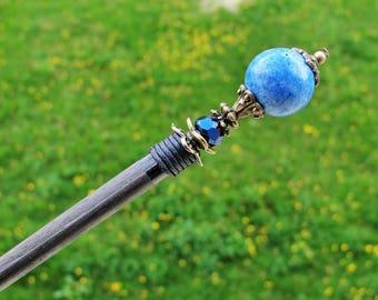Wooden hair stick - blue howlite, fine crystal - long japanese hair pin wood kanzashi hair ornament chopstick festival decoration headpiece