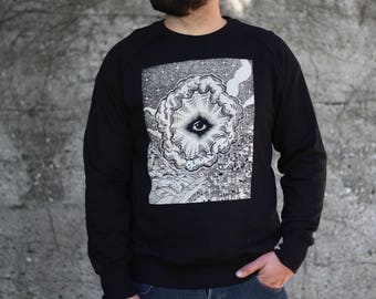 men's sweatshirt, Eye of Providence, man's sweater, the ALL SEEING EYE jumper, Freemasonry illuminati, steampunk clothing, occult clothing