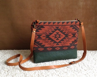 Aztec bag,Tribal print,cross body bag,Bulgarian print,day bag,leather strap,Native bag,women clutch,messenger bag,screen print,unique gift