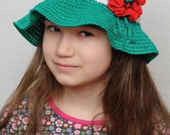 Crochet Bucket hat Floral Crochet sun hat Girls sun hat poppy flower Girls summer hat brim hat girls hats Cloche hat Beach hat kids hats